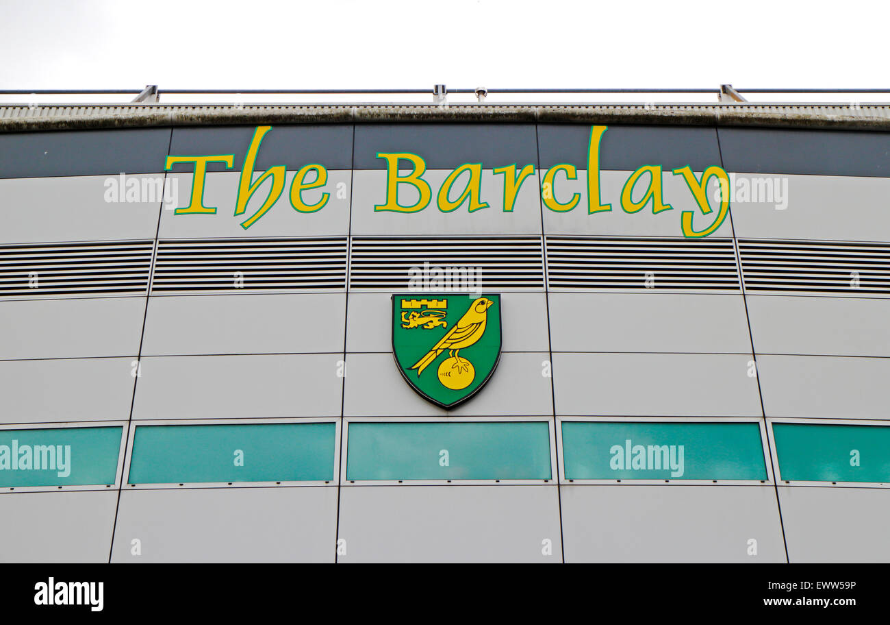 Sign of The Barclay stand and club badge at the Carrow Road ground of Norwich City Football Club, Norfolk, England, - Stock Image
