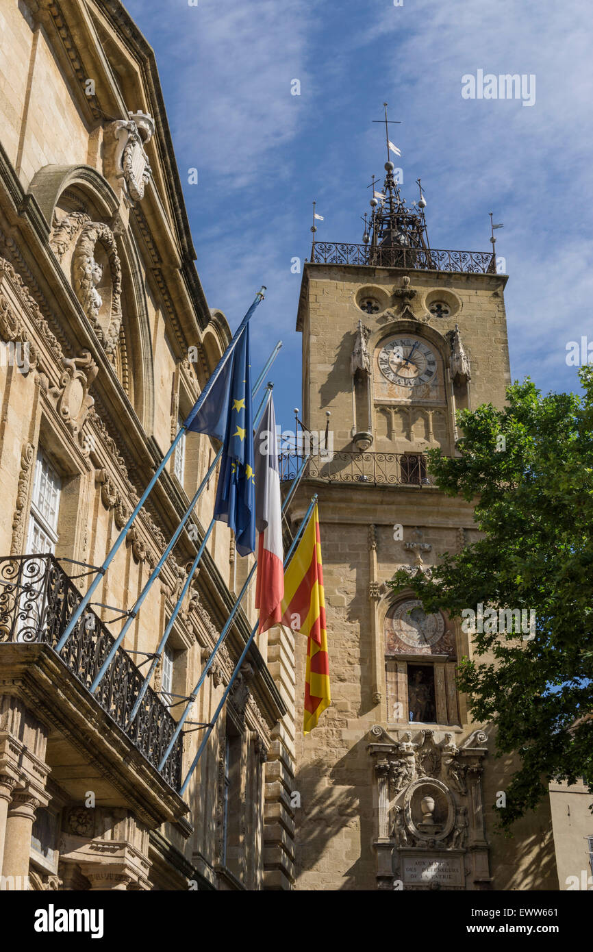 Market Place, Town Hall, Hotel de Ville, Clock Tower, Aix-en-Provence Stock Photo