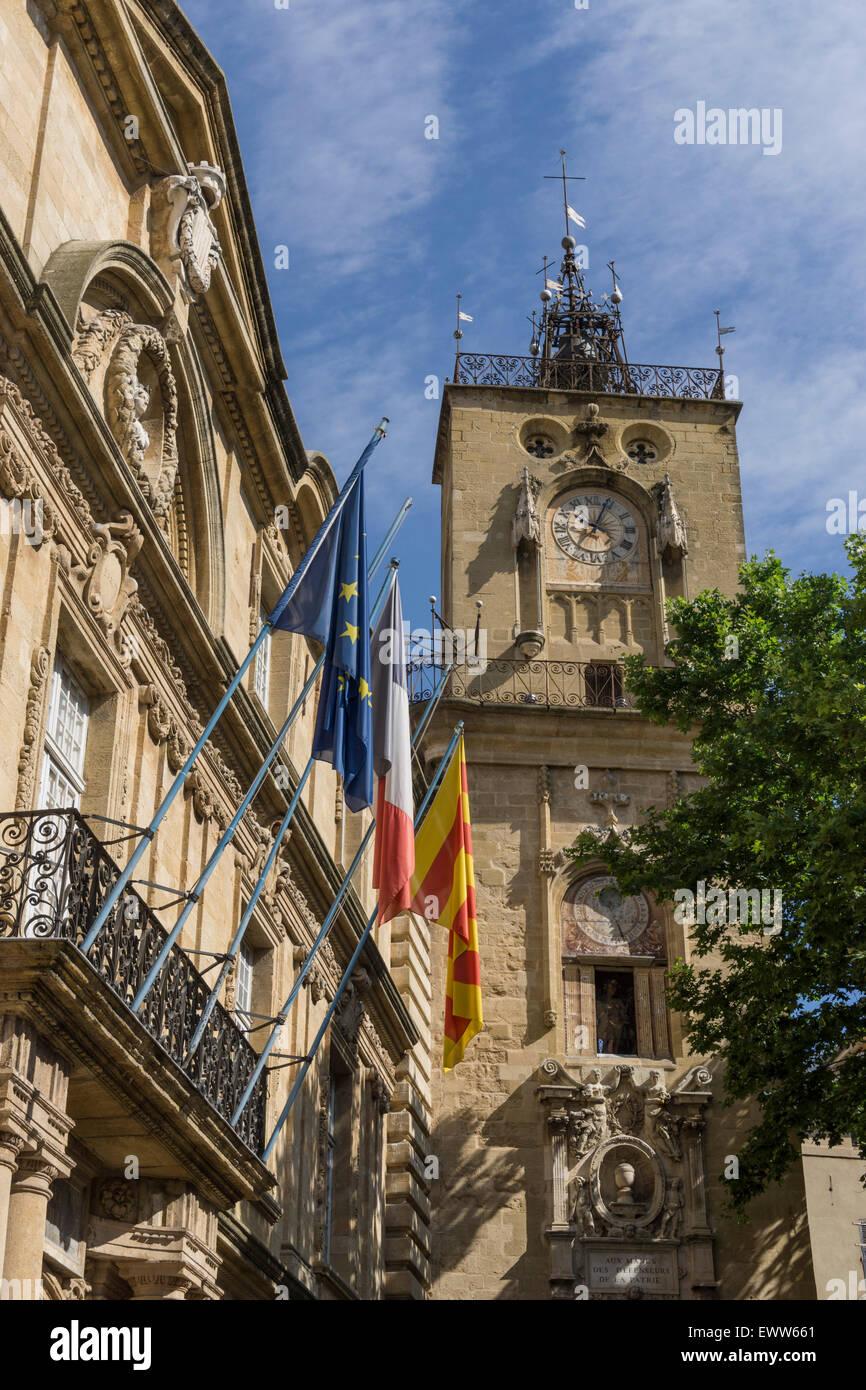 Market Place, Town Hall, Hotel de Ville, Clock Tower, Aix-en-Provence - Stock Image