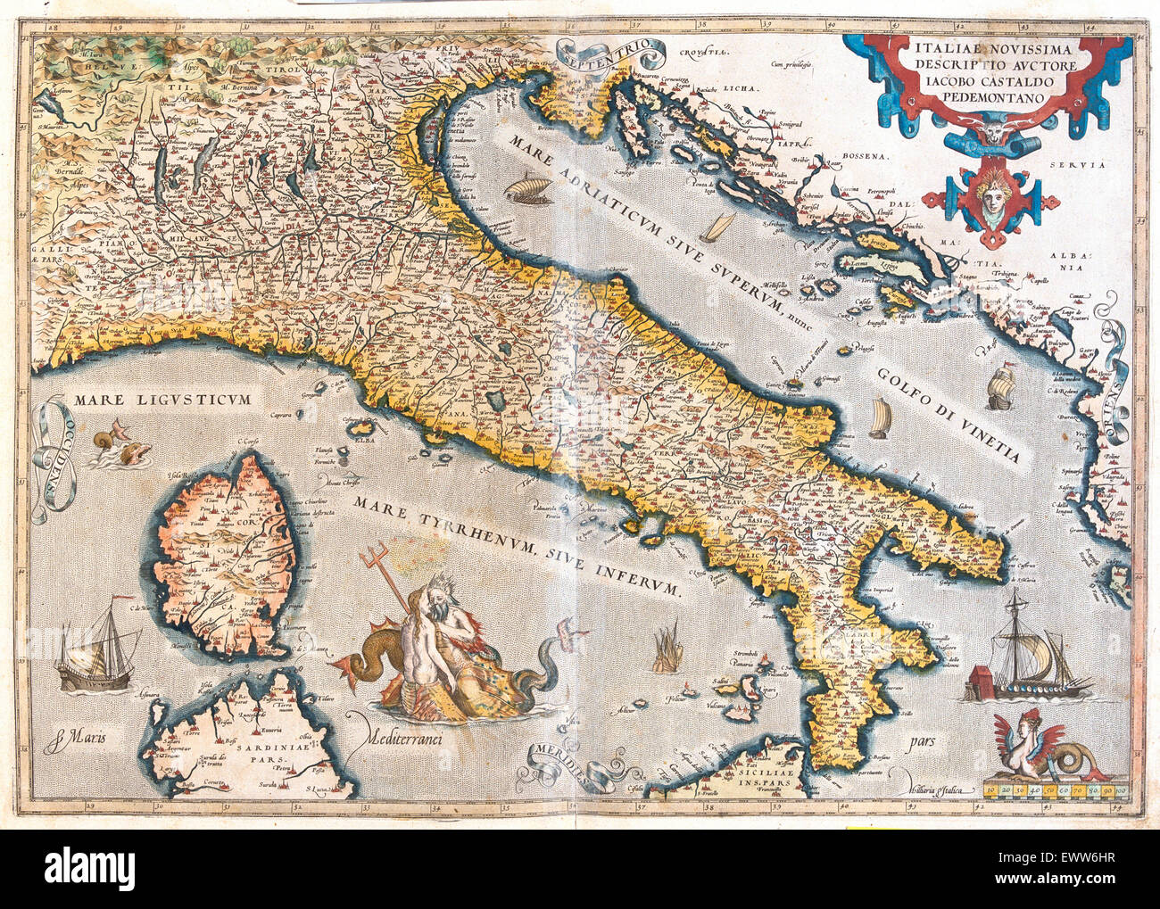 old map of Italy, with Corsica and Sardinia - Stock Image