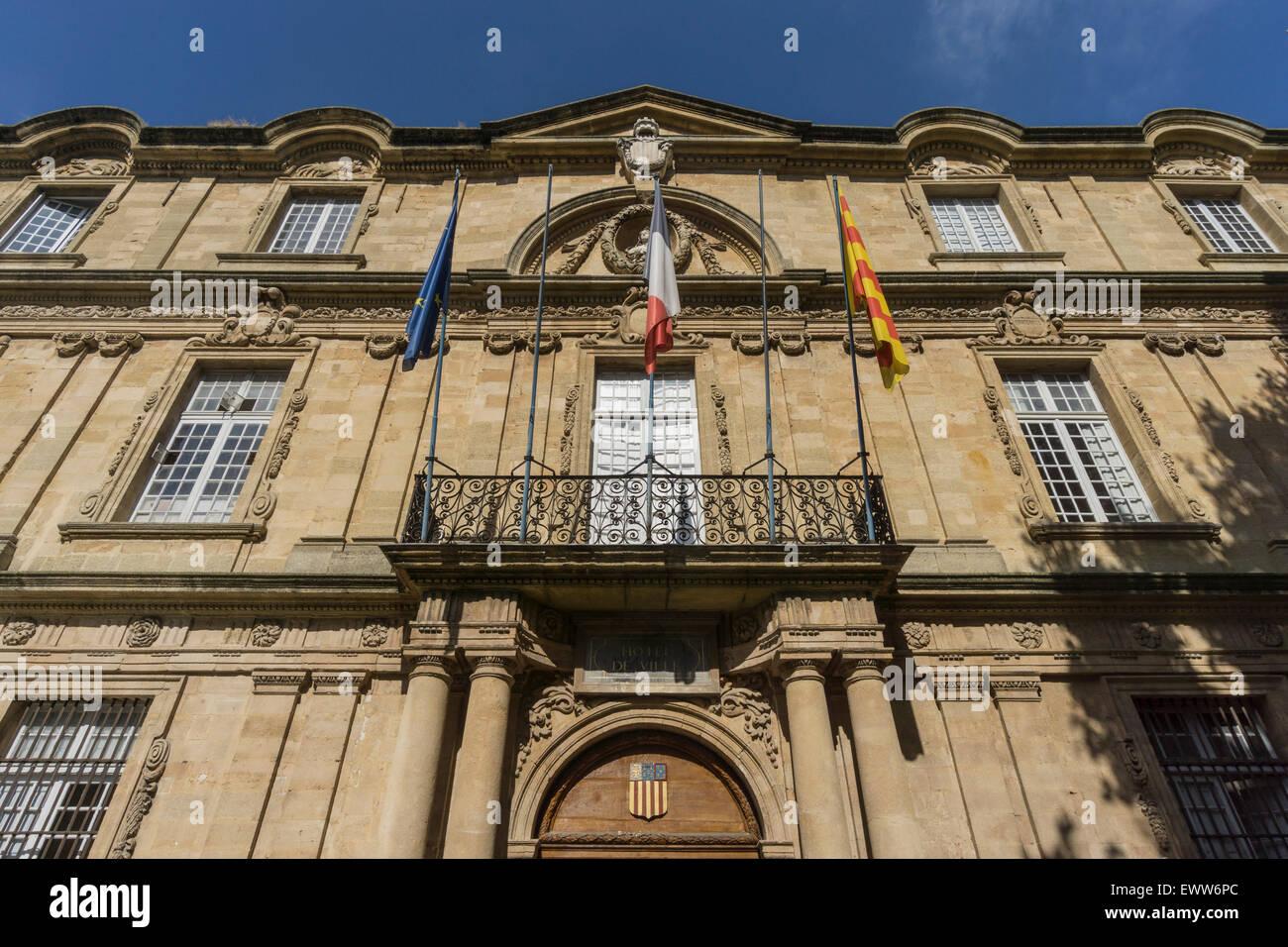 Market Place, Town Hall, Hotel de Ville,  Aix-en-Provence Stock Photo