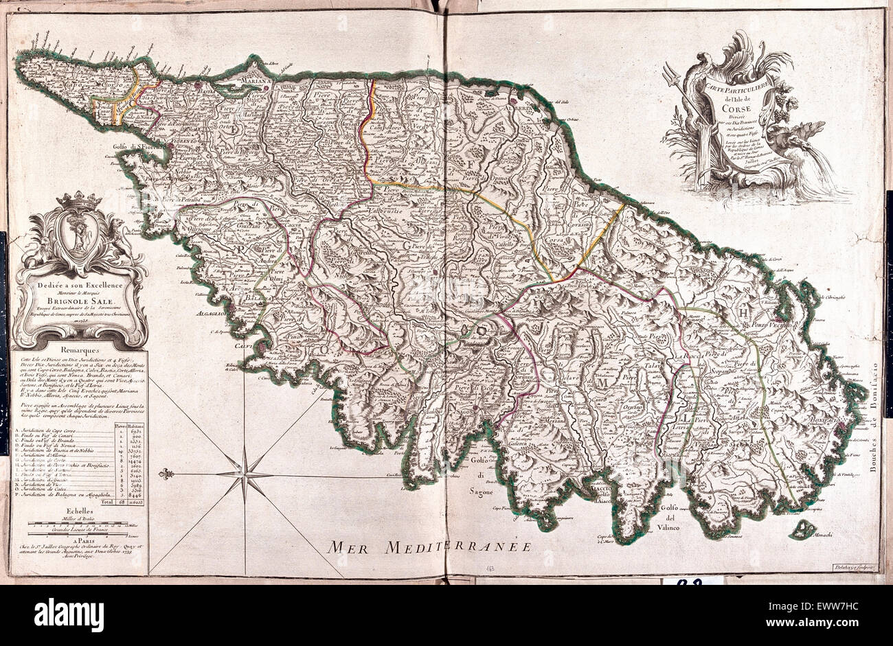 old map of Corsica, France - Stock Image