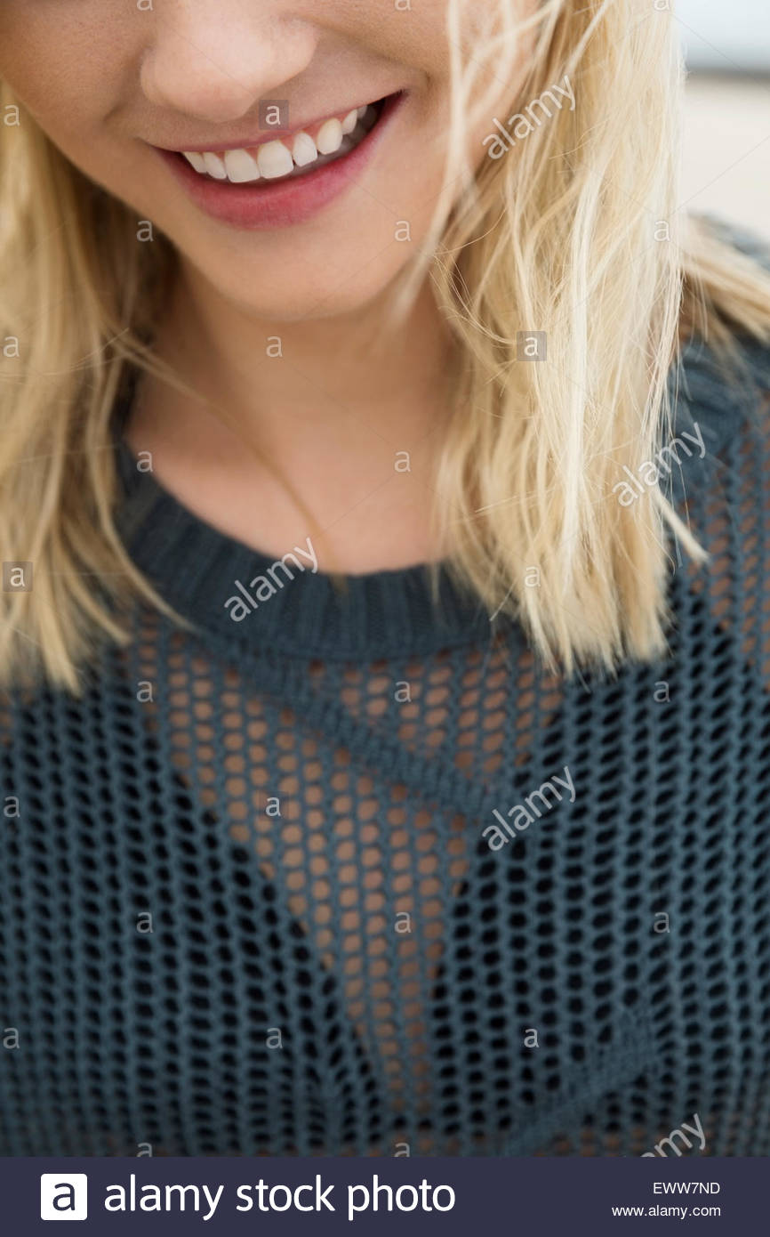 Close up smiling blonde woman bikini and coverup Stock Photo