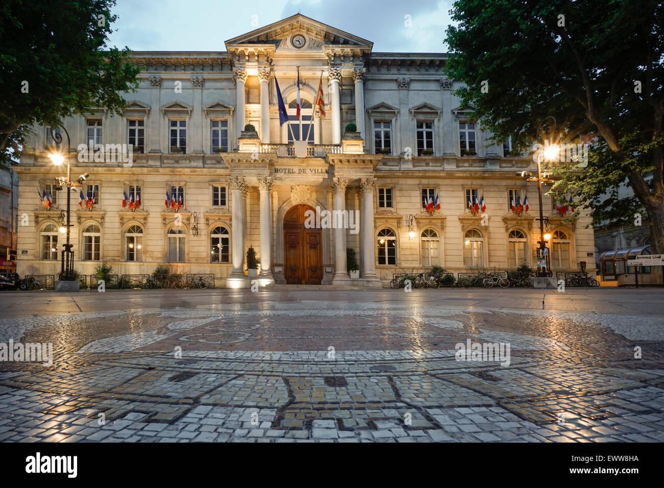 Hotel de Ville, Cobble Stone Mosaic, Avignon, Bouche du Rhone, France - Stock Image