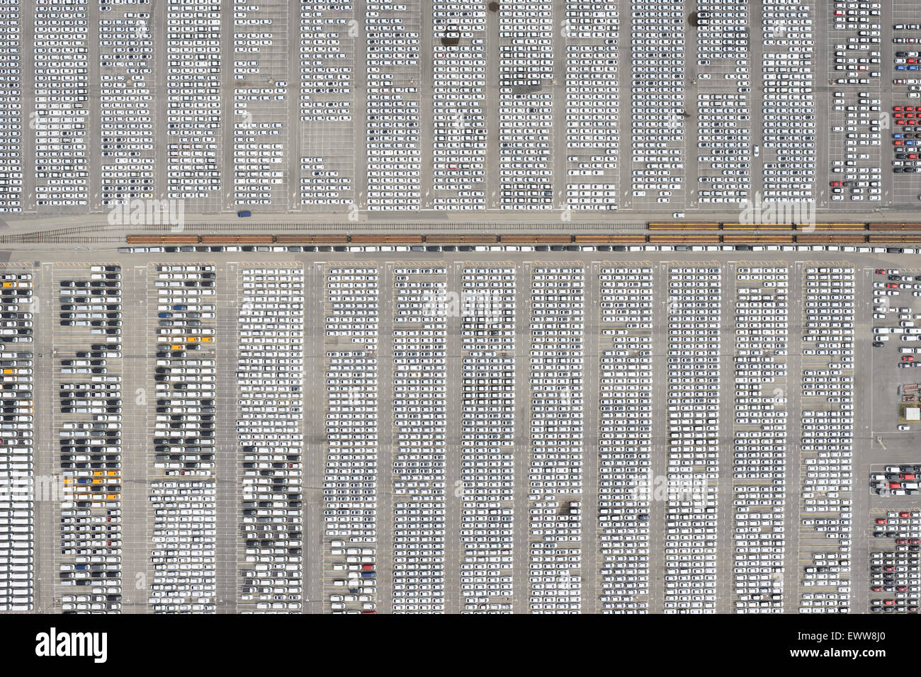 MADE IN SLOVENIA, FRENCH AND GERMAN CARS READY FOR EXPORT (aerial view). Port of Koper (also Capodistria, its Italian - Stock Image
