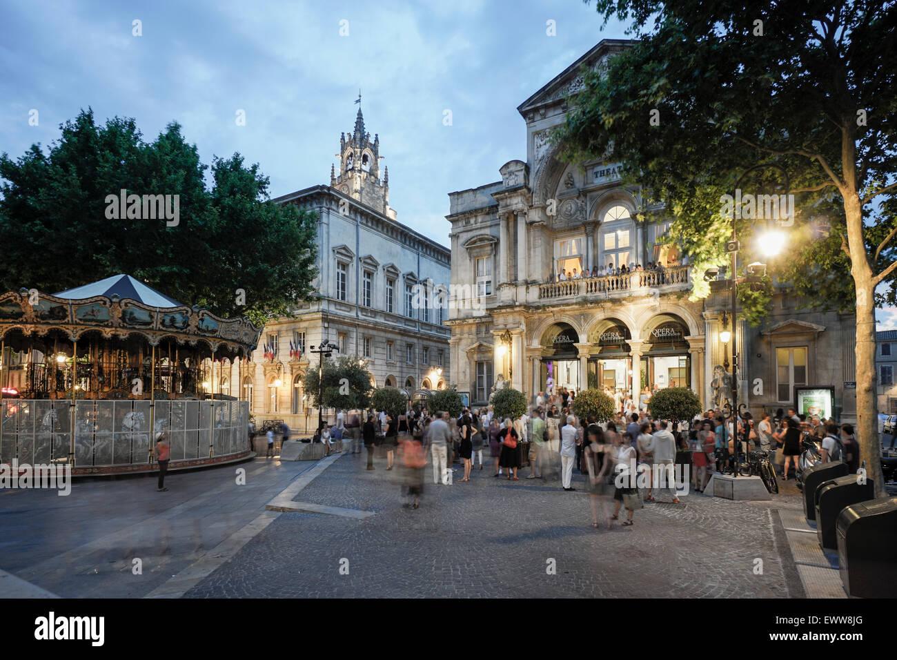 Hotel de Ville, Opera, Place de la Horloge,  Avignon, Bouche du Rhone, France - Stock Image