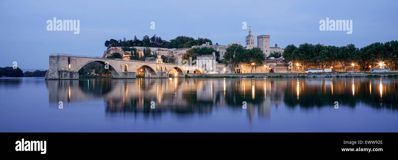 Avignon, Pont St Benezet,  Bridge, Palais Des Papes, Bouche du Rhone, France - Stock Image