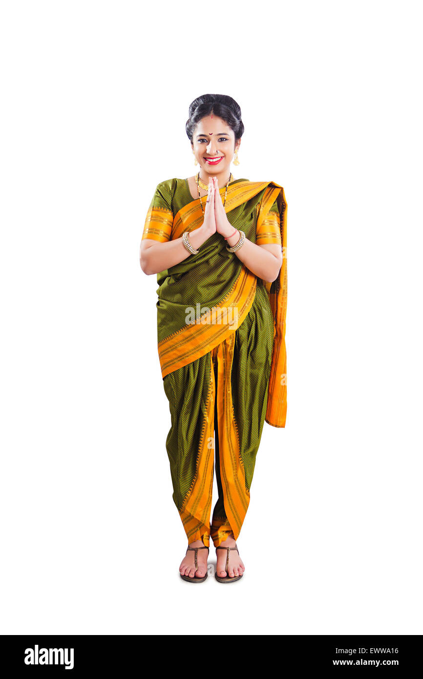 1 indian Marathi woman Joined Hands Welcome Stock Photo