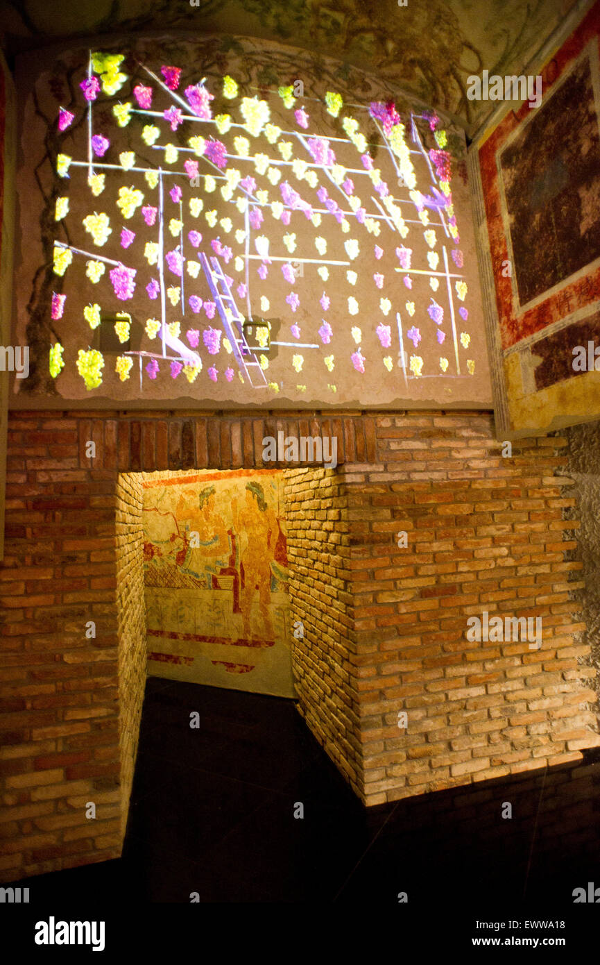 Italy, Milan, Expo 2015, Hall of Wine Italy, the presence of art in the pavilion's history, sociability, love. - Stock Image