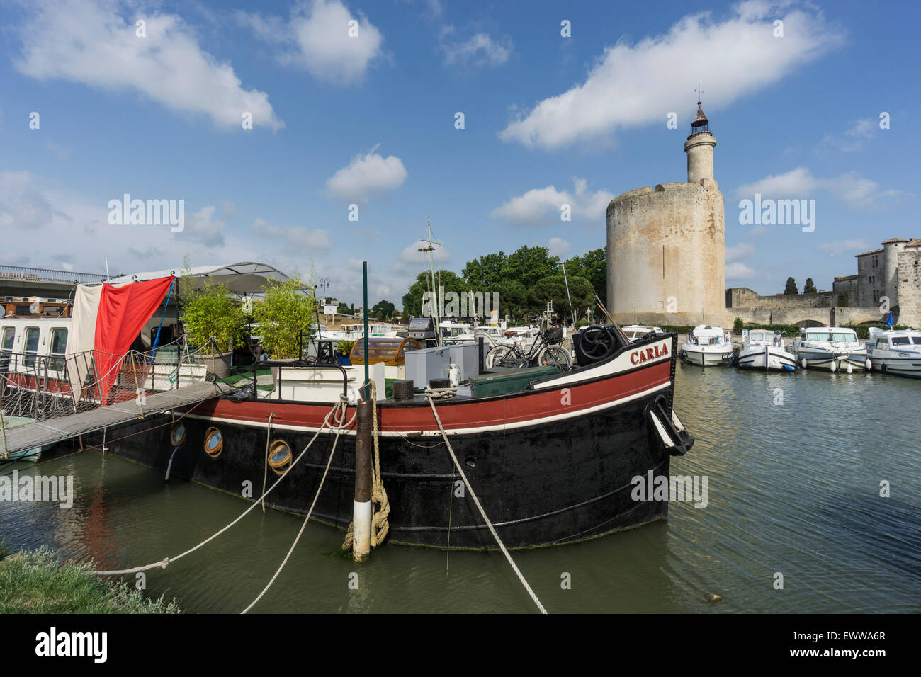 Marina, Aigues-Mortes, Provence, Camargue, Languedoc-Roussillon, France Avignon, Bouche du Rhone, France - Stock Image