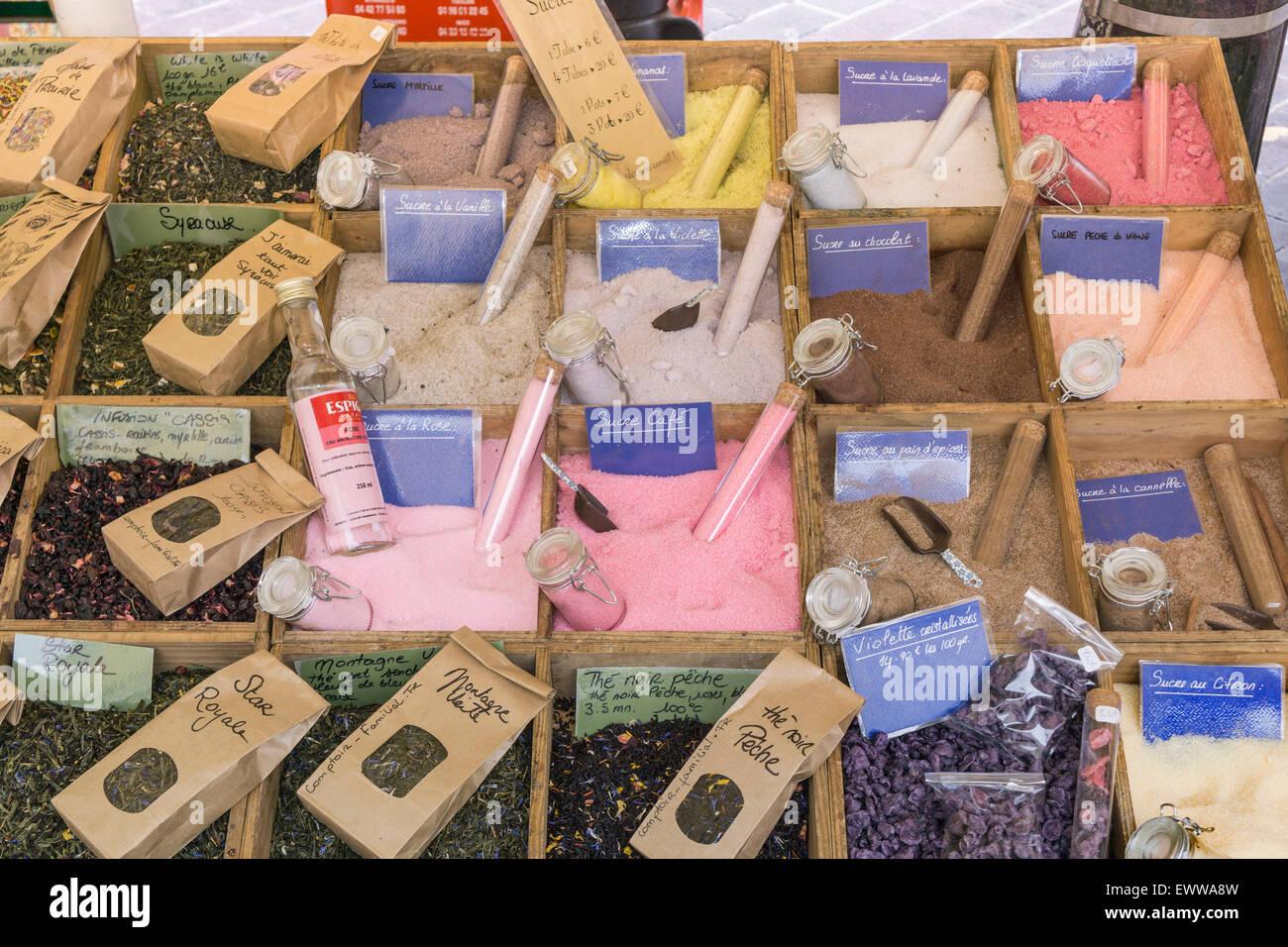 France, Nice,old city center,  market stall , salt and spicesAvignon, Bouche du Rhone, France - Stock Image