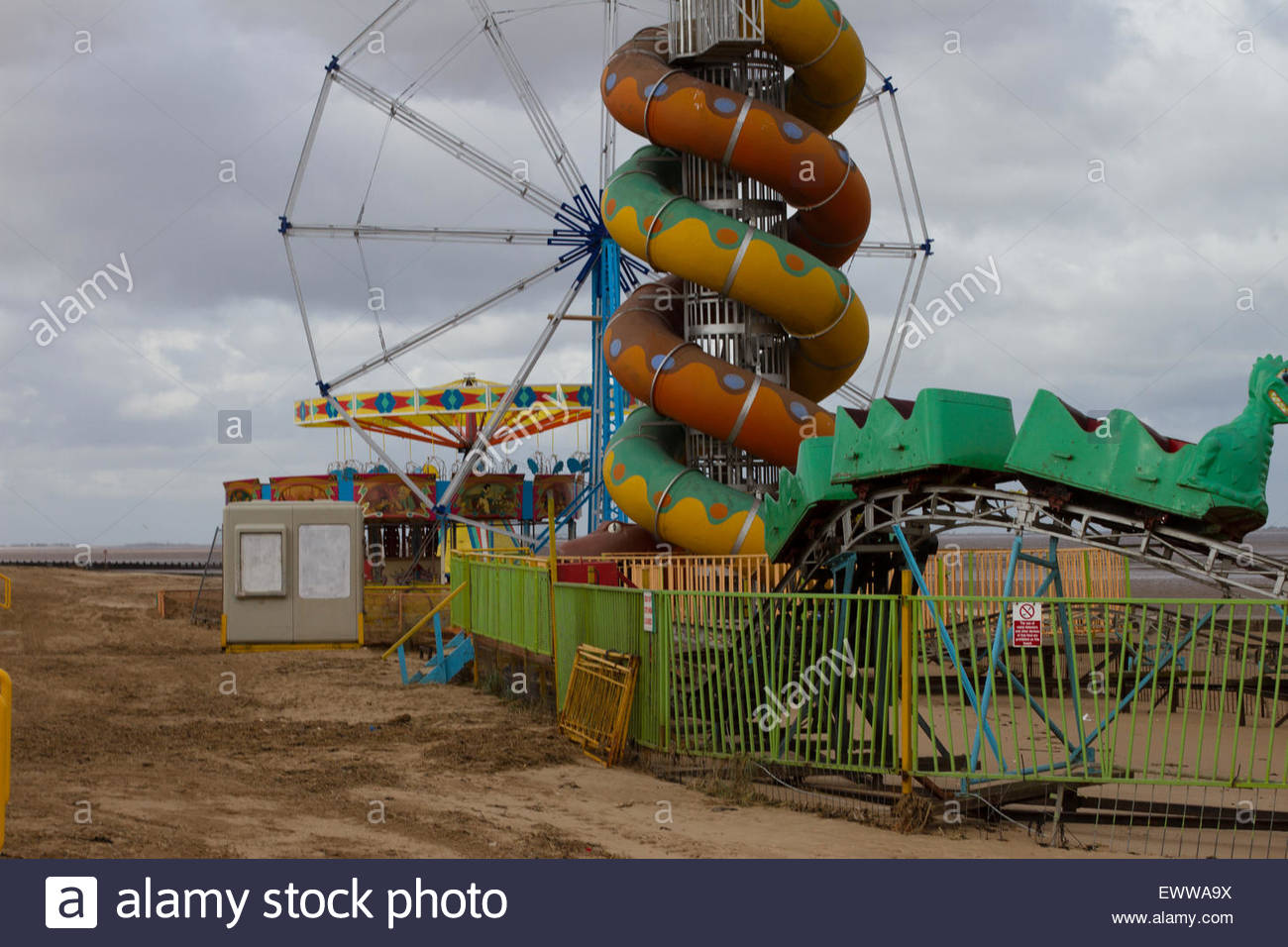 An old abandoned rusting amusement park in the East of England at Cleethorpes Beach - Stock Image