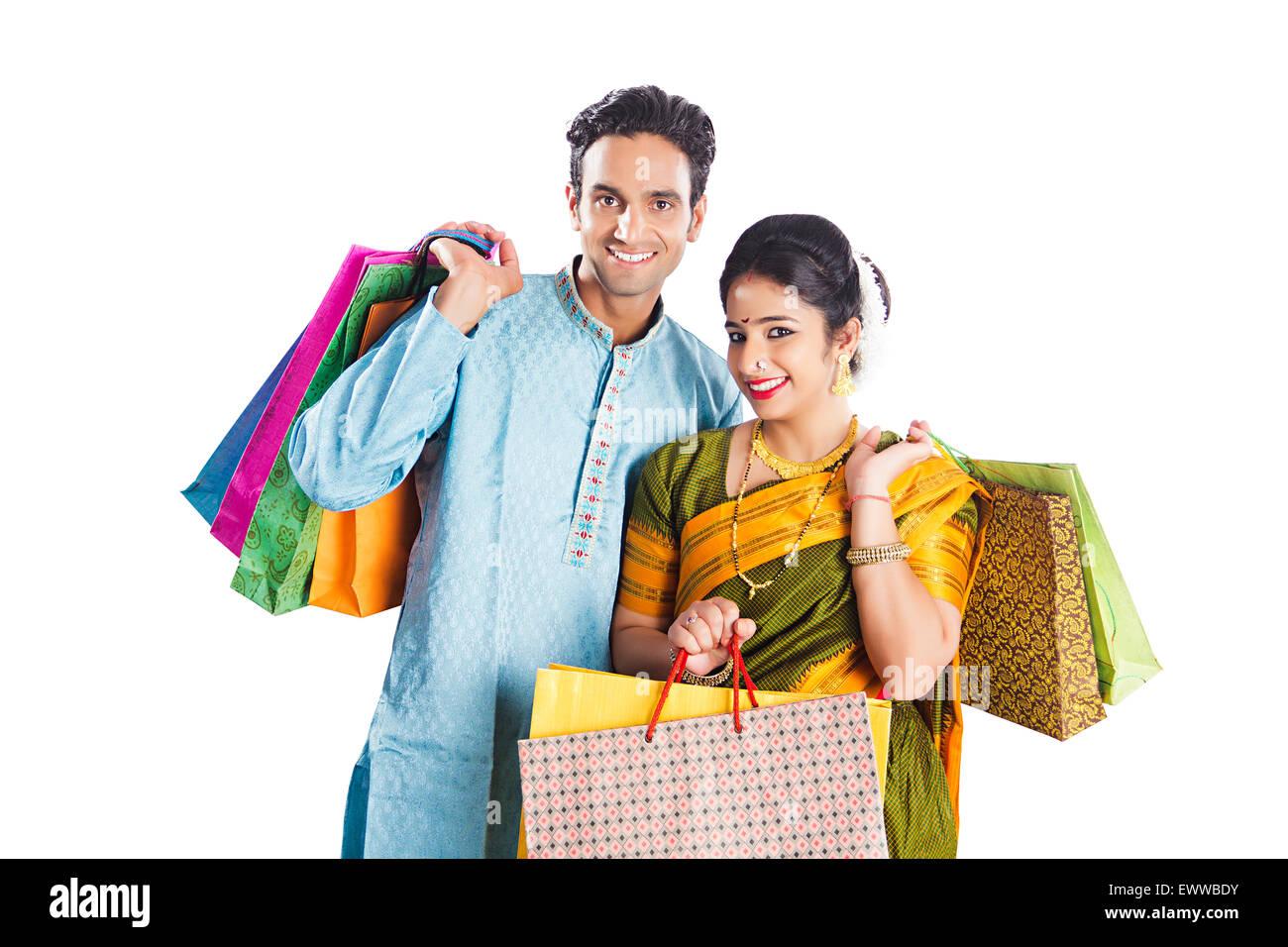 indian Marathi Married Couple diwali shopping Stock Photo
