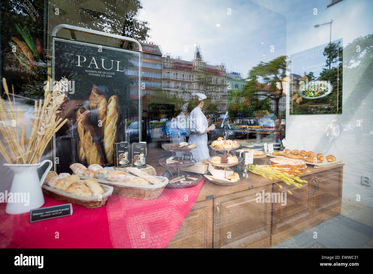 bakery shop Paul on display, Prague is the capital and largest city of the Czech Republic, Europe - Stock Image