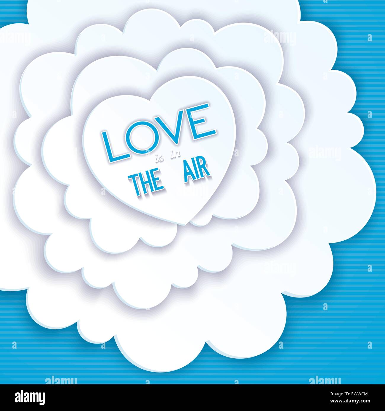 Heart in the clouds, love is in the air. Creative greeting card - Stock Image