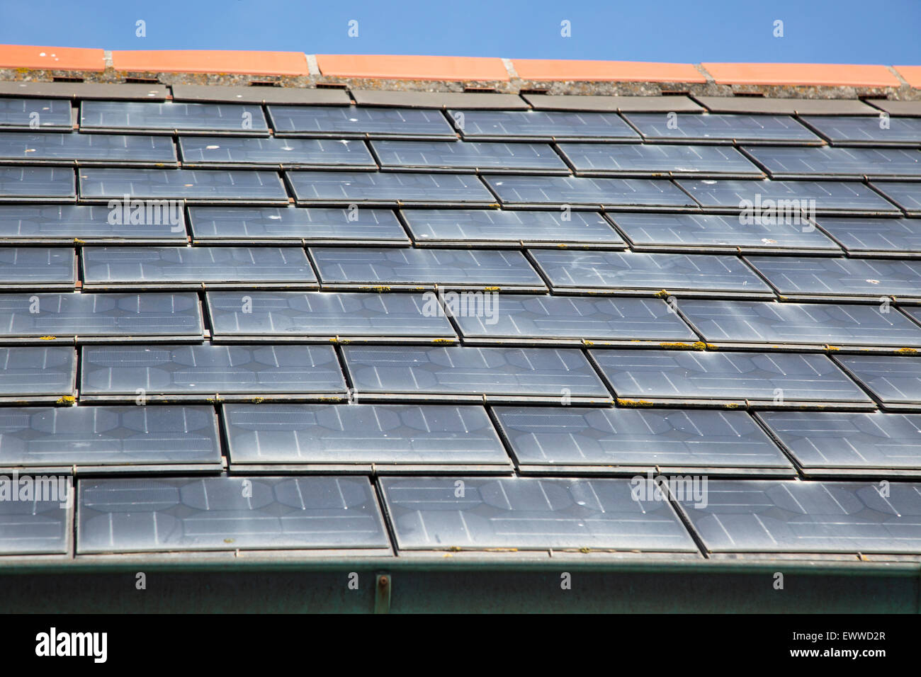 Close Up Of Photovoltaic Roof Tiles On Building Kynance