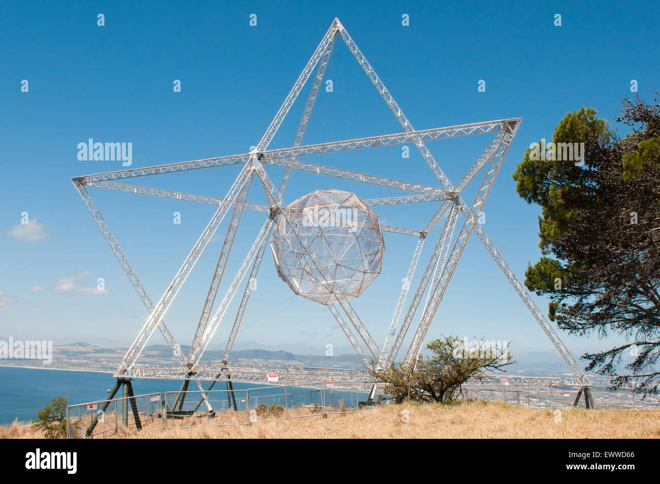 The Sunstar on Signal Hill, Cape Town is a beacon of hope forged from the repurposed fence that used to surround - Stock Image