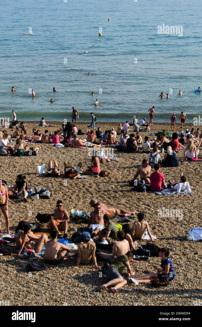 Brighton beach, Brighton, East Sussex, England, UK. 1st July 2015. At approximately 6pm on the hottest July day - Stock Image