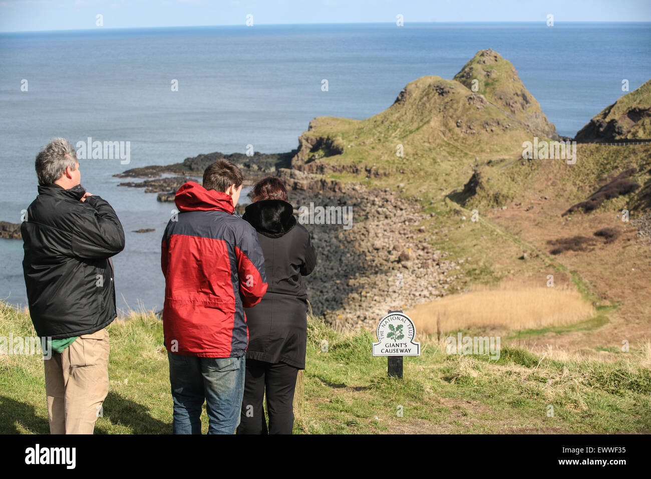 Just above the lunar-like landscape of Giant's Causeway. The Causway is a geological freak, caused by volcanic - Stock Image