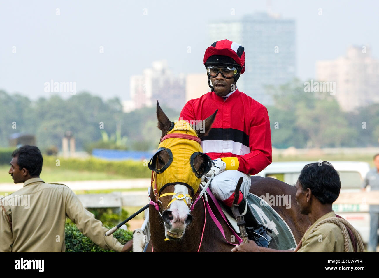 Colourful Blinkers At Calcutta Kolkata Race Course During The