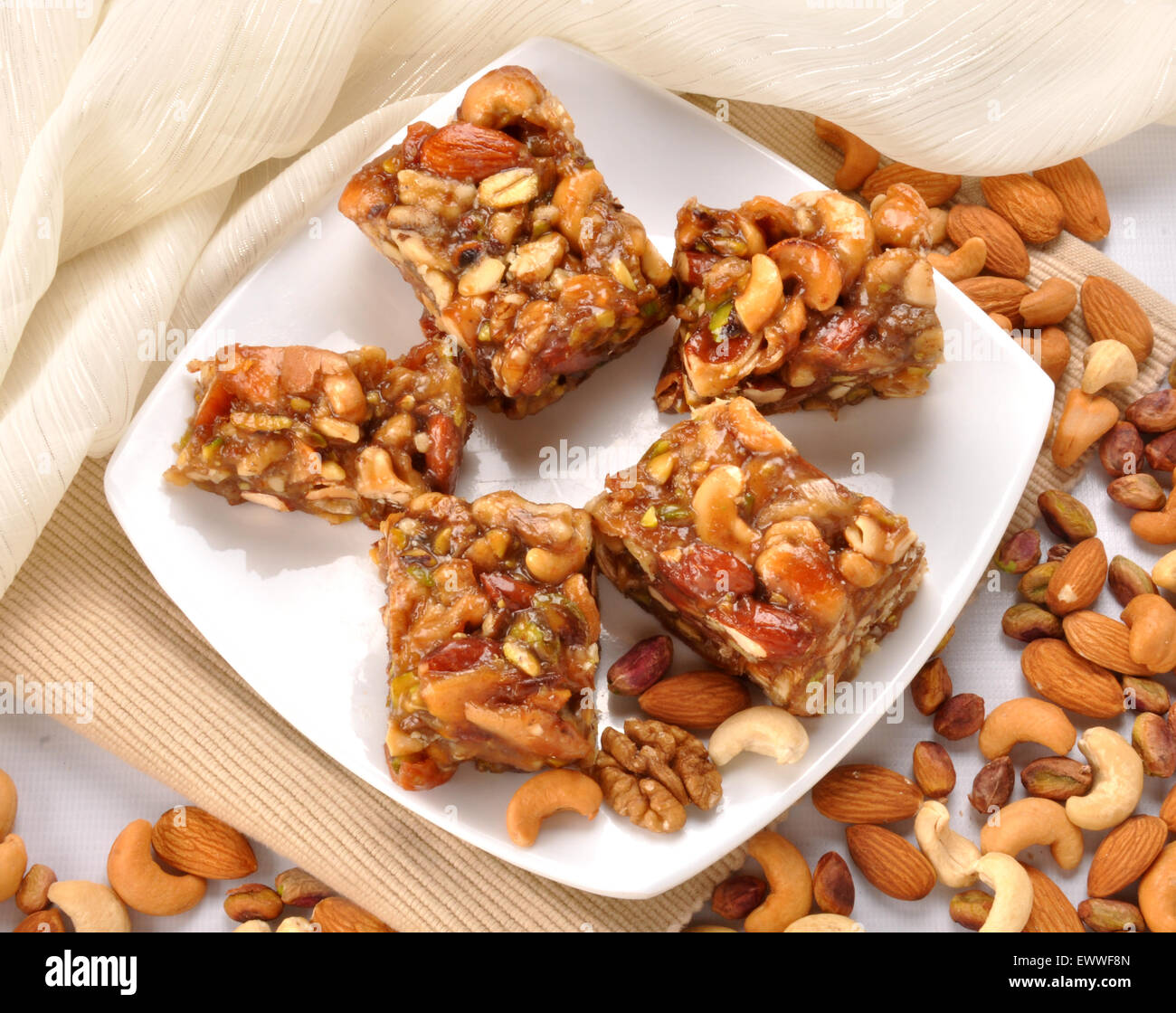 Dry Fruit Halva with Nuts Top View - Stock Image