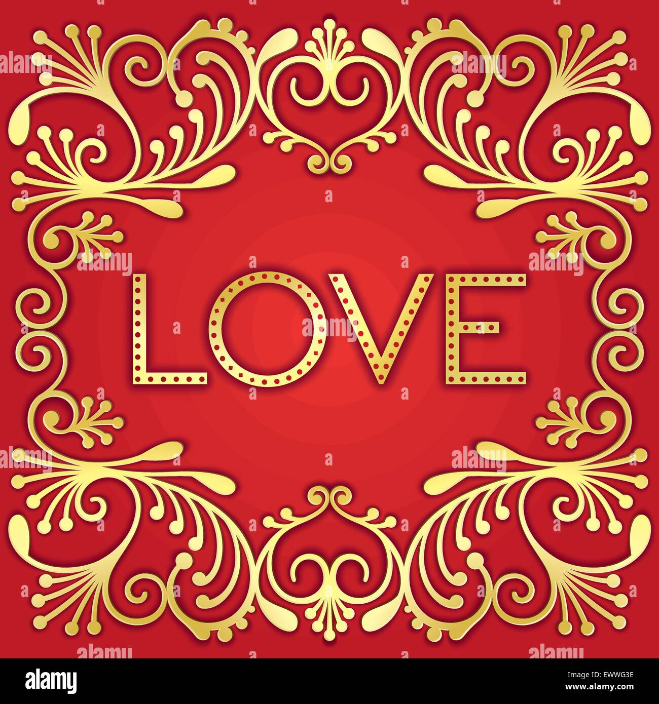 Just gold lettering word love with jewelry pattern - Stock Image