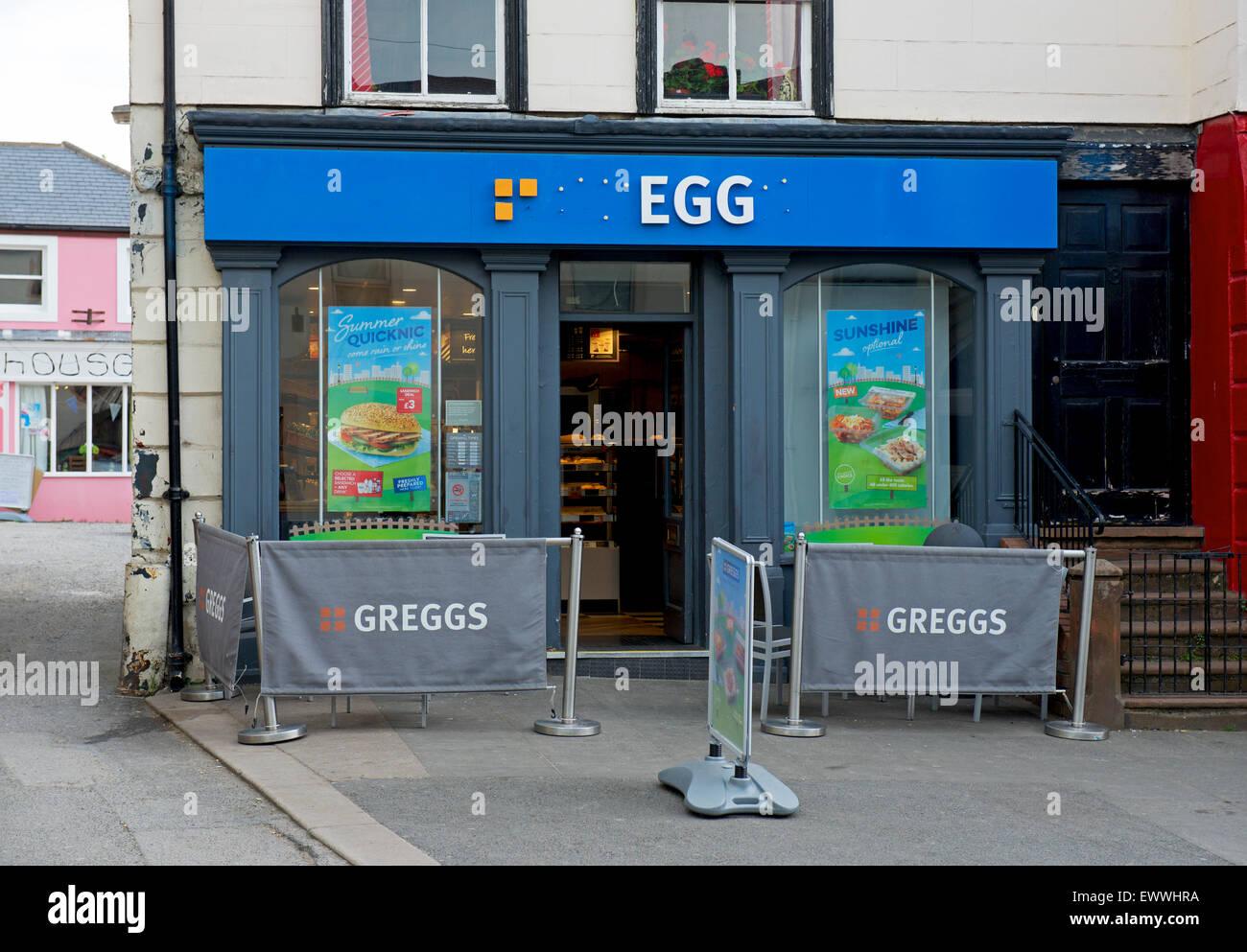 Imaginative vandalism of branch of Greggs the bakers, England UK - Stock Image