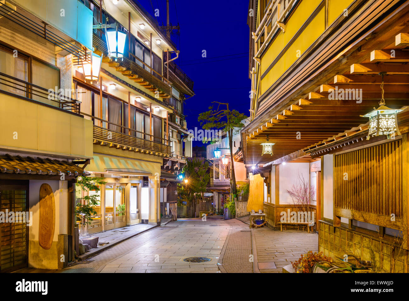 Shibu Onsen, Nagano, Japan historic hot springs resorts town. - Stock Image