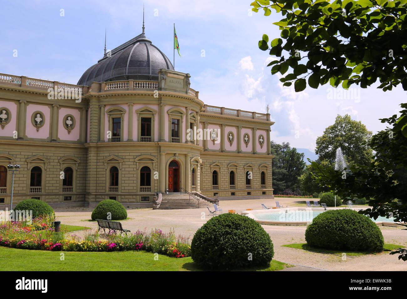 Ariana building with garden view in Geneva, Switzerland Stock Photo