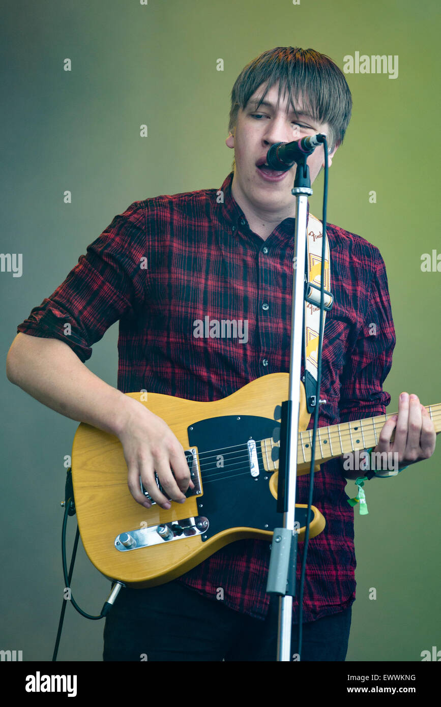 Drenge plays British Summertime Hyde Park 2015 on 20/06/2015 .   Persons pictured: Eoin Loveless. Picture by JEP - Stock Image