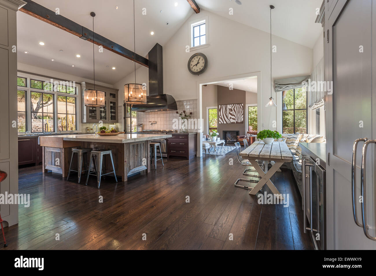Large, rustic contemporary kitchen with wood-beamed vaulted ceiling - Stock Image