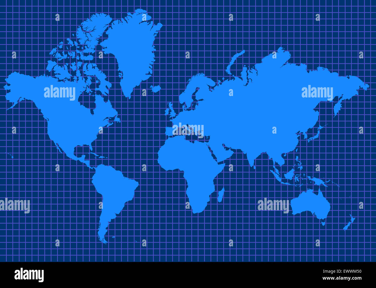 Blue global map with blue grid lines Stock Photo: 84772492 - Alamy