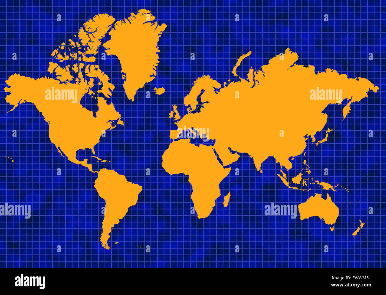 Blue global map with blue grid lines and yellow or gold continents - Stock Image