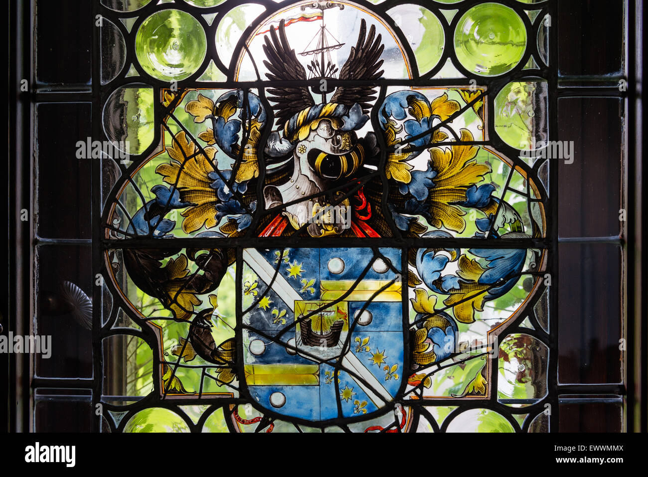 Coat of arms in stained glass window - Stock Image