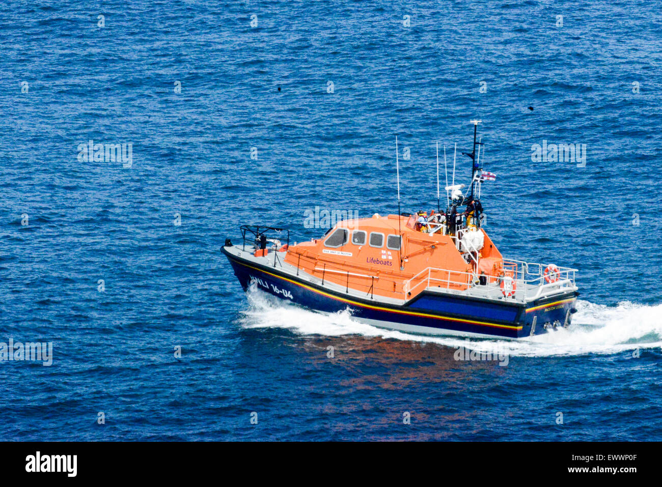 Padstow Lifeboat carrying out search and rescue operation around Trevose head and the Camel Estuary. Cornwall UK Stock Photo