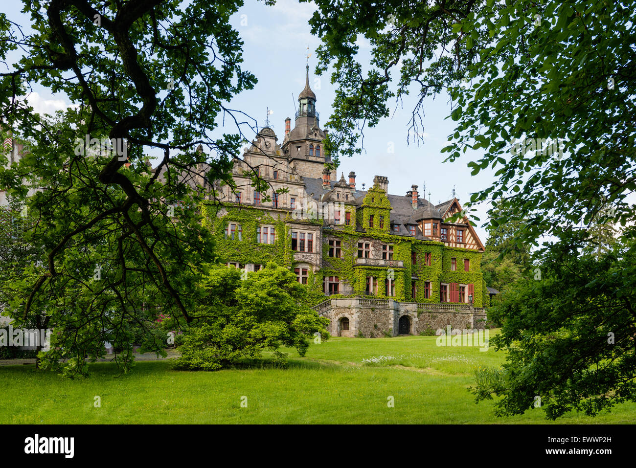Exterior facade of the imposing Schloss Ramholz - Stock Image
