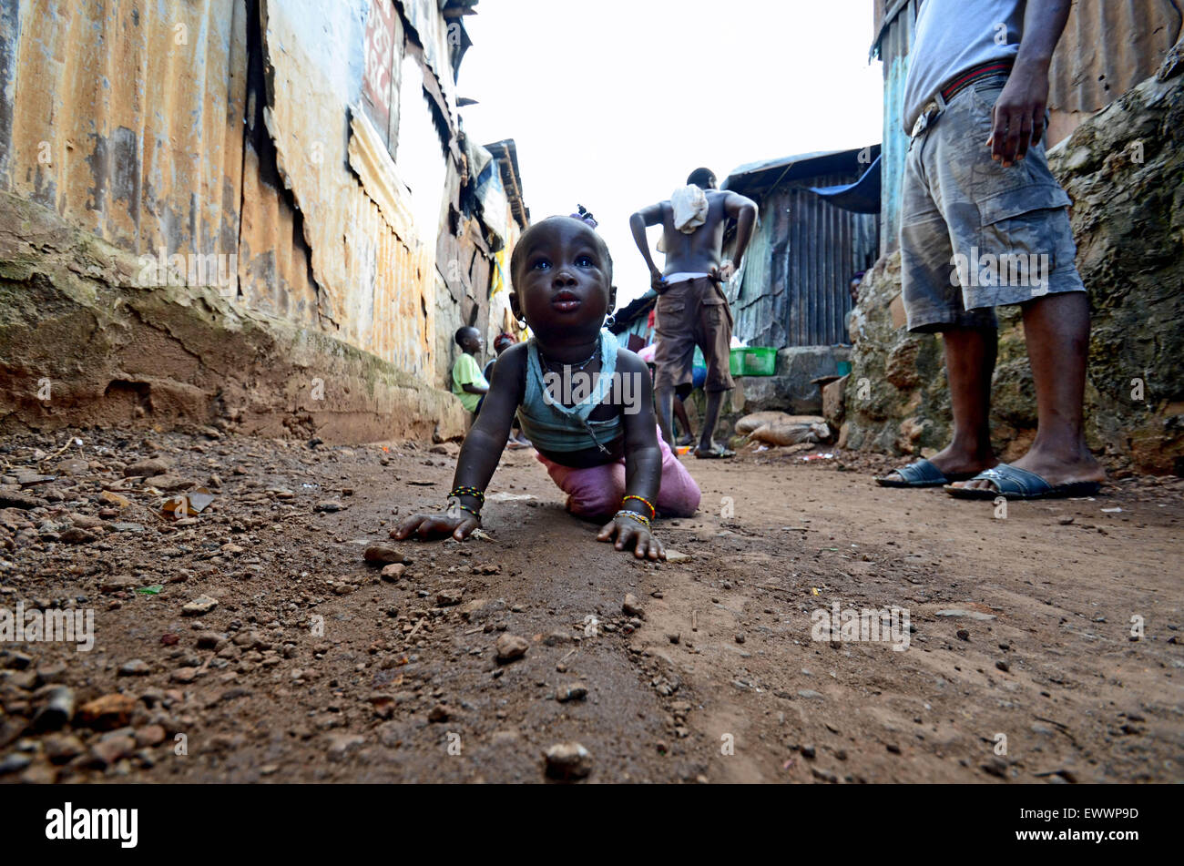 A child in Kroo Bay, Freetown, Sierra Leone - Stock Image