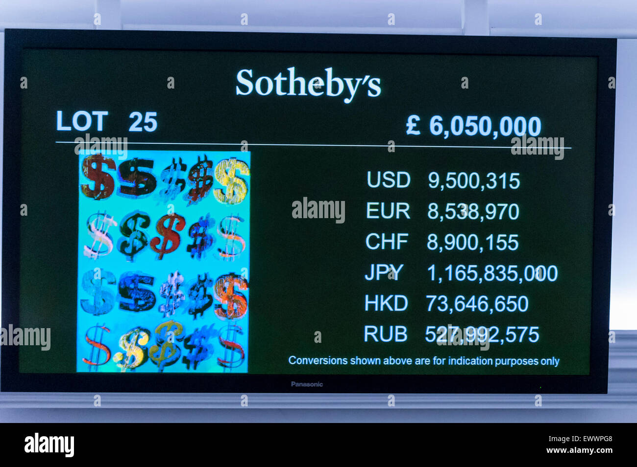 London, UK. 1 July 2015. An LCD monitor shows Andy Warhol's 'Dollar Signs' which sold for a hammer price - Stock Image
