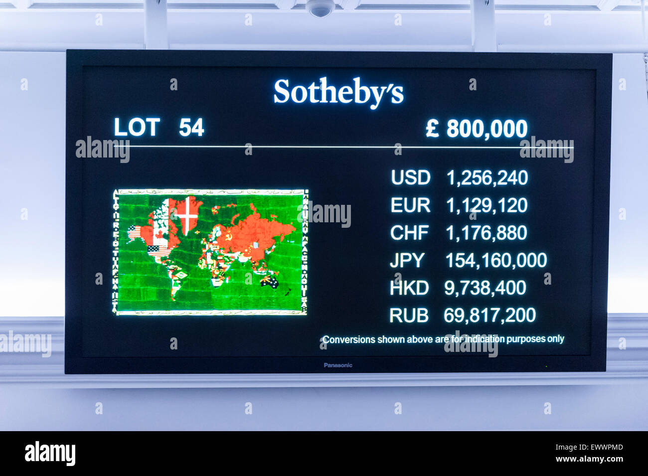 London, UK. 1 July 2015. An LCD monitor shows Alighiero Boetti's 'Mappa' (sold for a hammer price of - Stock Image