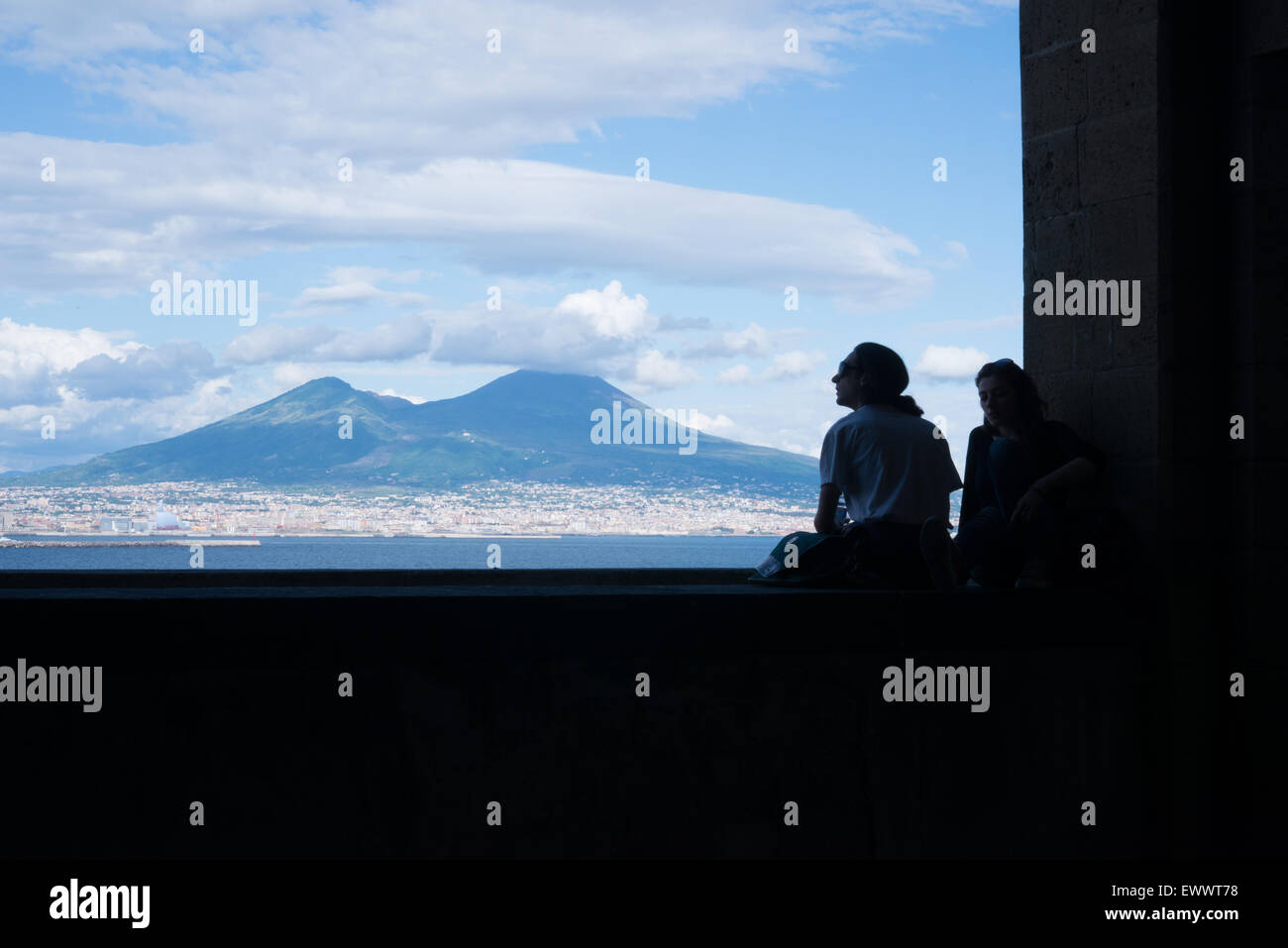 View of the mount Vesuvius and the Gulf of Naples from Castel dell'Ovo - Stock Image