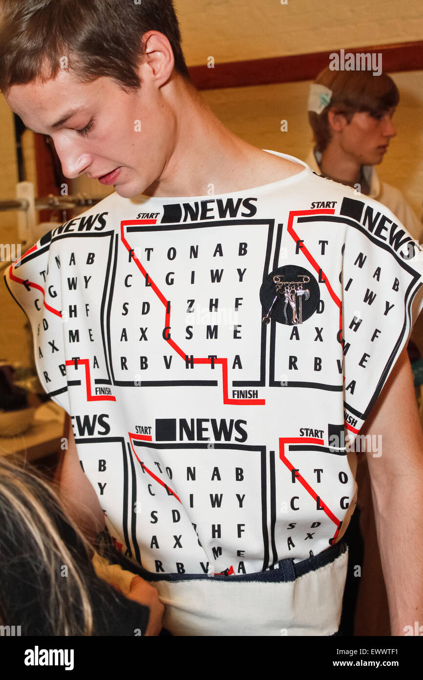 Backstage at J W Anderson London Collections Mens SS16 - Stock Image