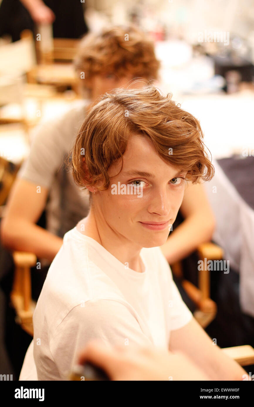 Backstage for Burberry at London Collections Men SS16 - Stock Image