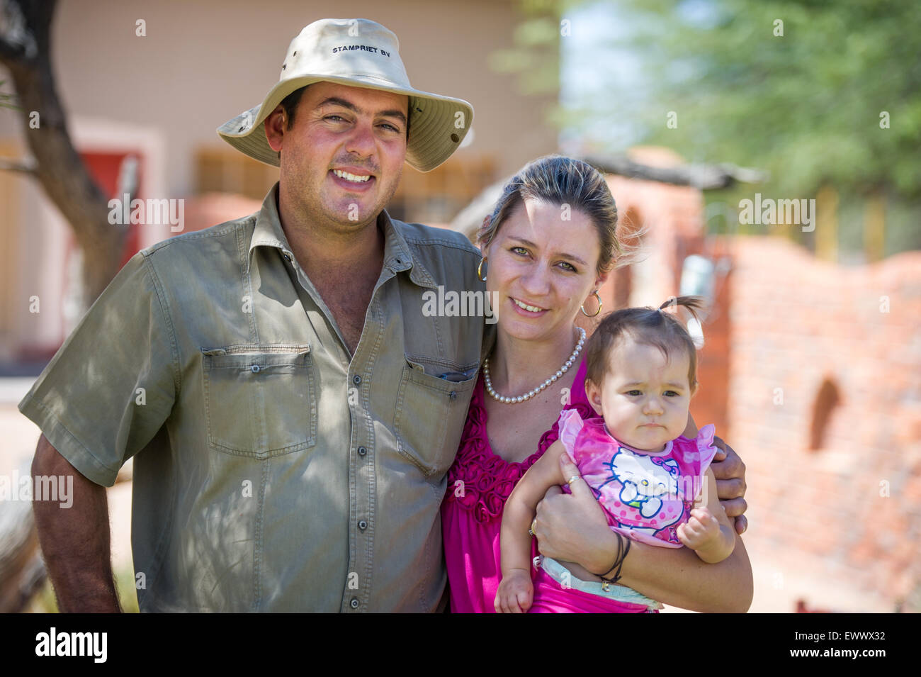 Namibia - Family portrait on farm in Africa. - Stock Image