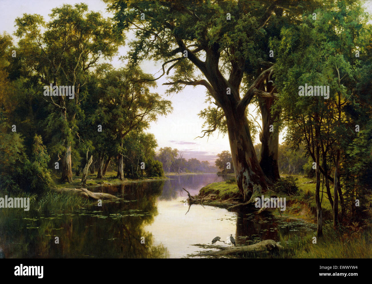 H.J. Johnstone, A Billabong of the Goulburn, Victoria 1894 Oil on canvas. Art Gallery of New South Wales, Australia. - Stock Image