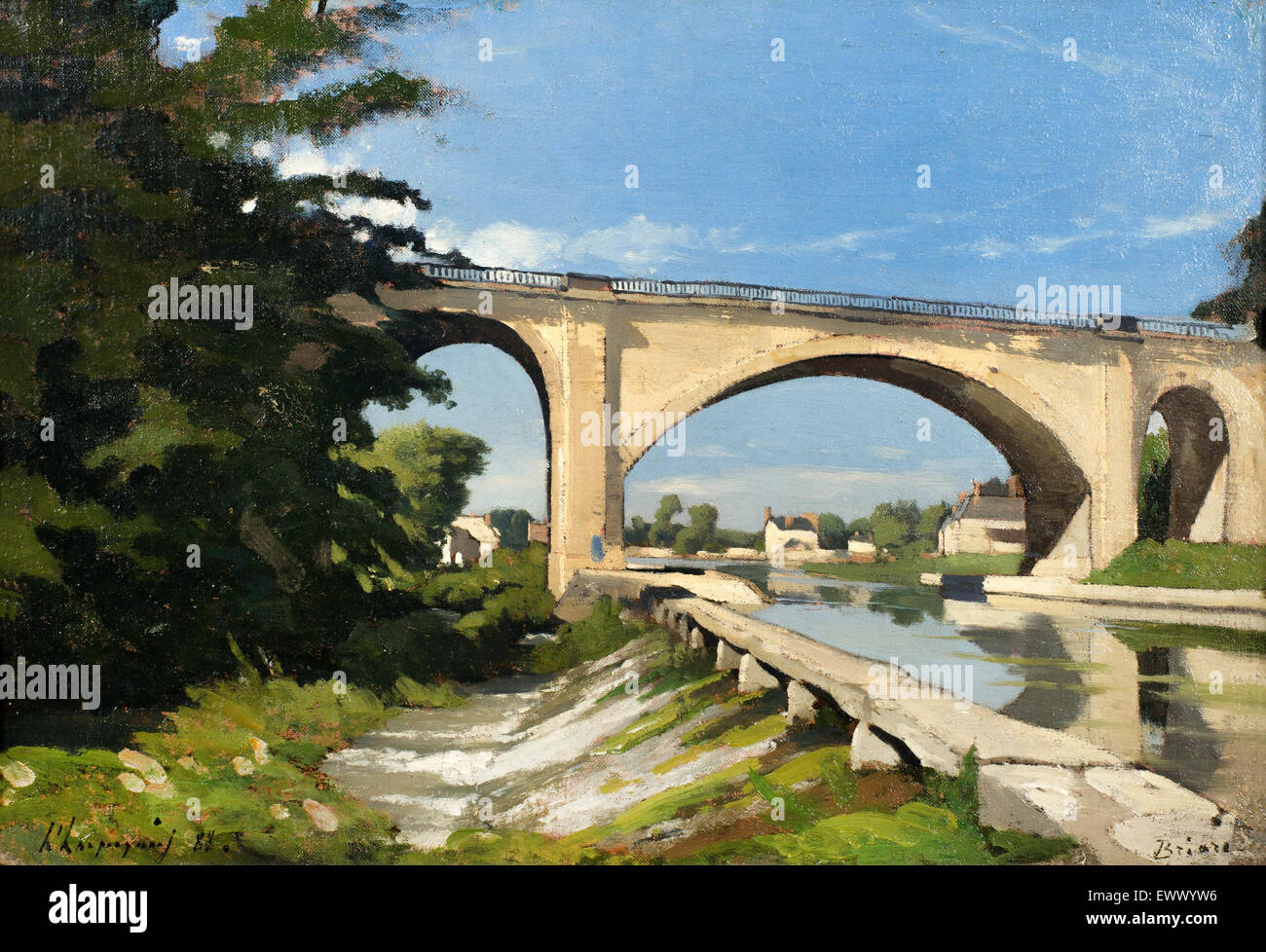 Henri Harpignies, The Railroad Bridge at Briare 1888 Oil on canvas. Philbrook Museum of Art, Tulsa, USA. - Stock Image