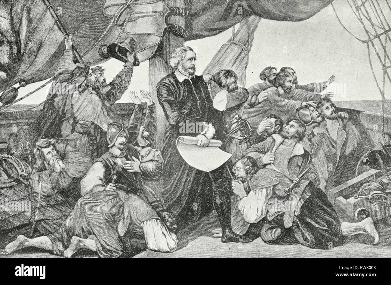 Christopher Columbus sighting land, 1492 - Stock Image