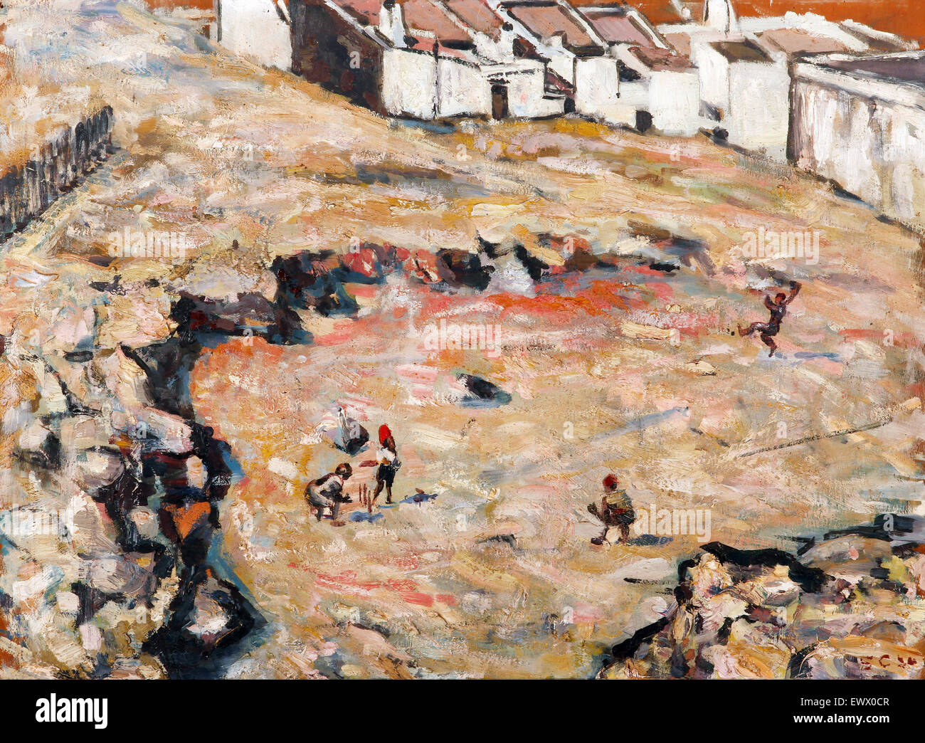 Harry Caldecott, The Cricket Match (Malay Quarter) 1924 Oil on wood. Modern Paintings. South African National Gallery, Stock Photo