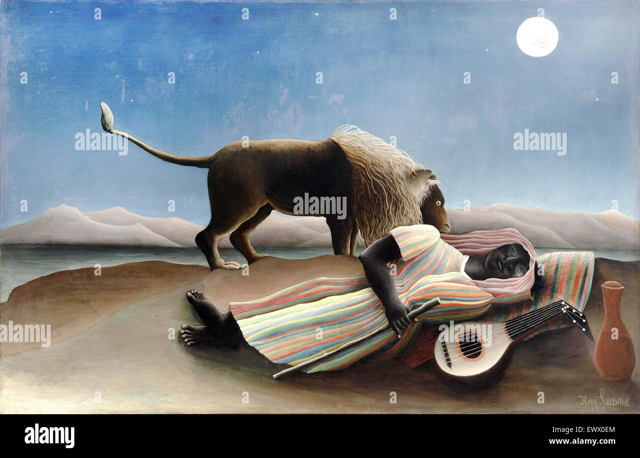 Henri Rousseau, The Sleeping Gypsy 1897 Oil on canvas. The Museum of Modern Art, New York, USA. - Stock Image