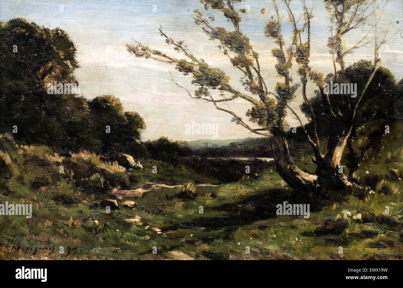 Henri Harpignies, Morning in the Nievre 1877 Oil on canvas. Art Gallery of New South Wales, Sydney, Australia. - Stock Image