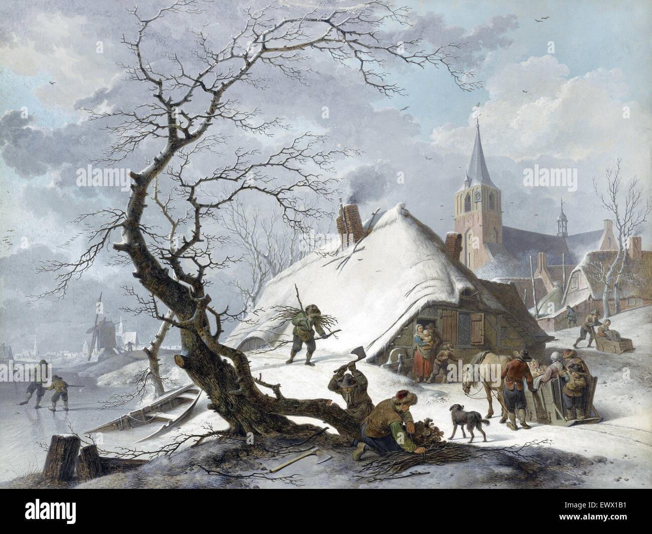 Hendrik Meyer, A Winter Scene 1787 Back chalk, pen, ink, gouache. J. Paul Getty Museum, Los Angeles, USA. - Stock Image